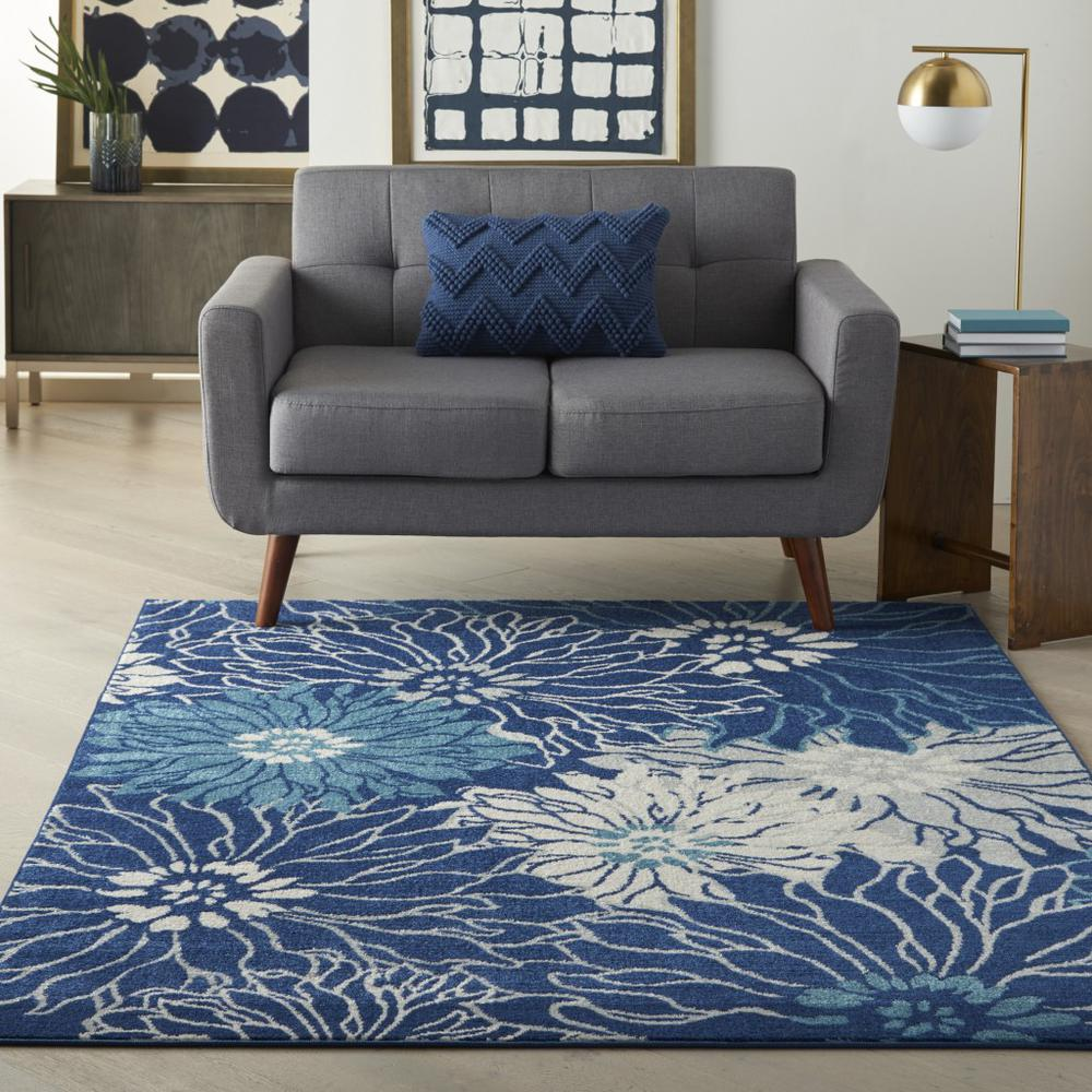 5' x 7' Navy and Ivory Floral Area Rug - 385479. Picture 4