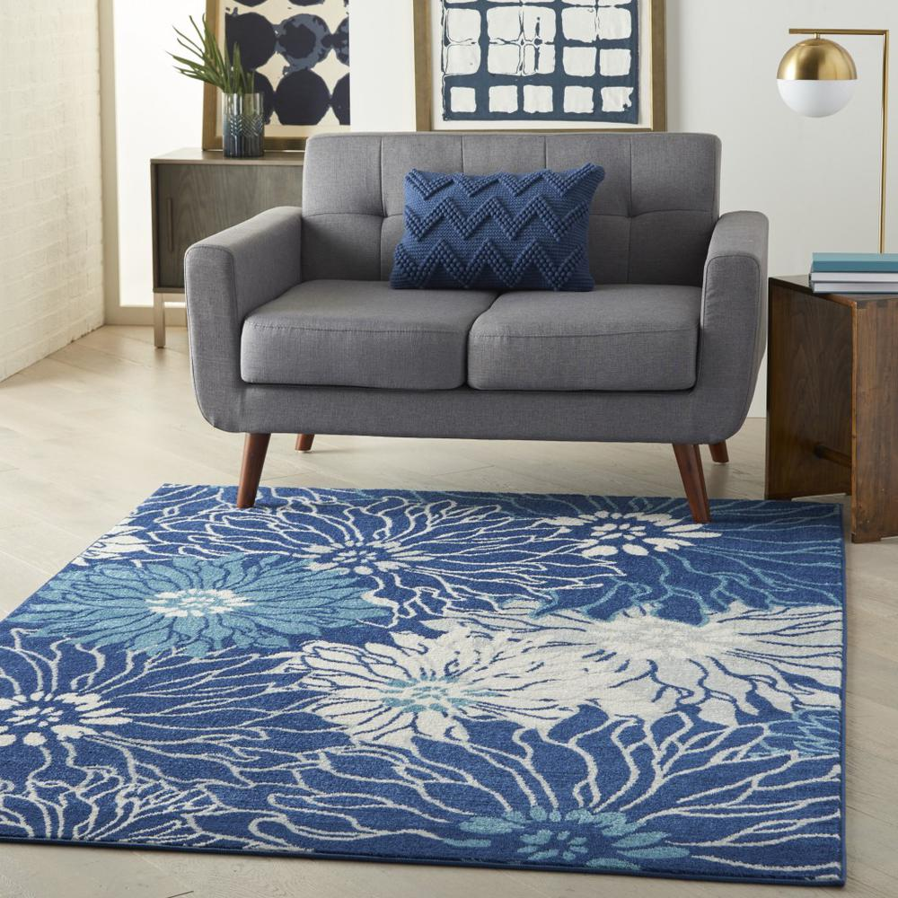 5' x 7' Navy and Ivory Floral Area Rug - 385479. Picture 6