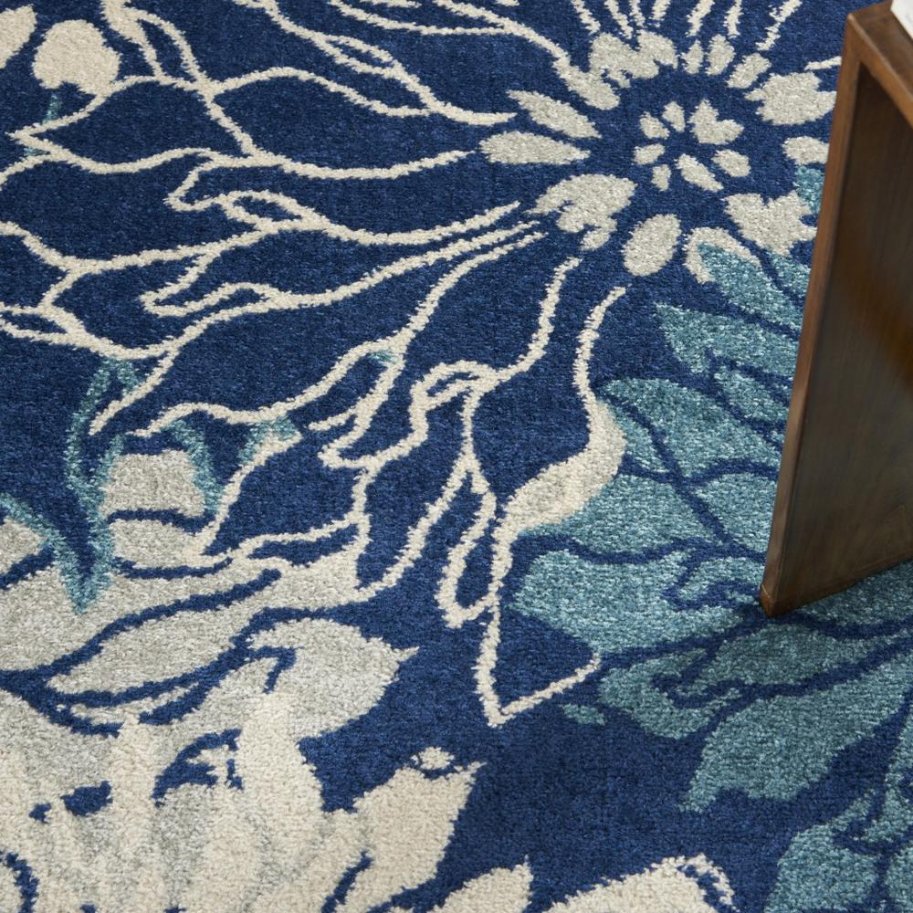 5' Round Navy and Ivory Floral Area Rug - 385480. Picture 8