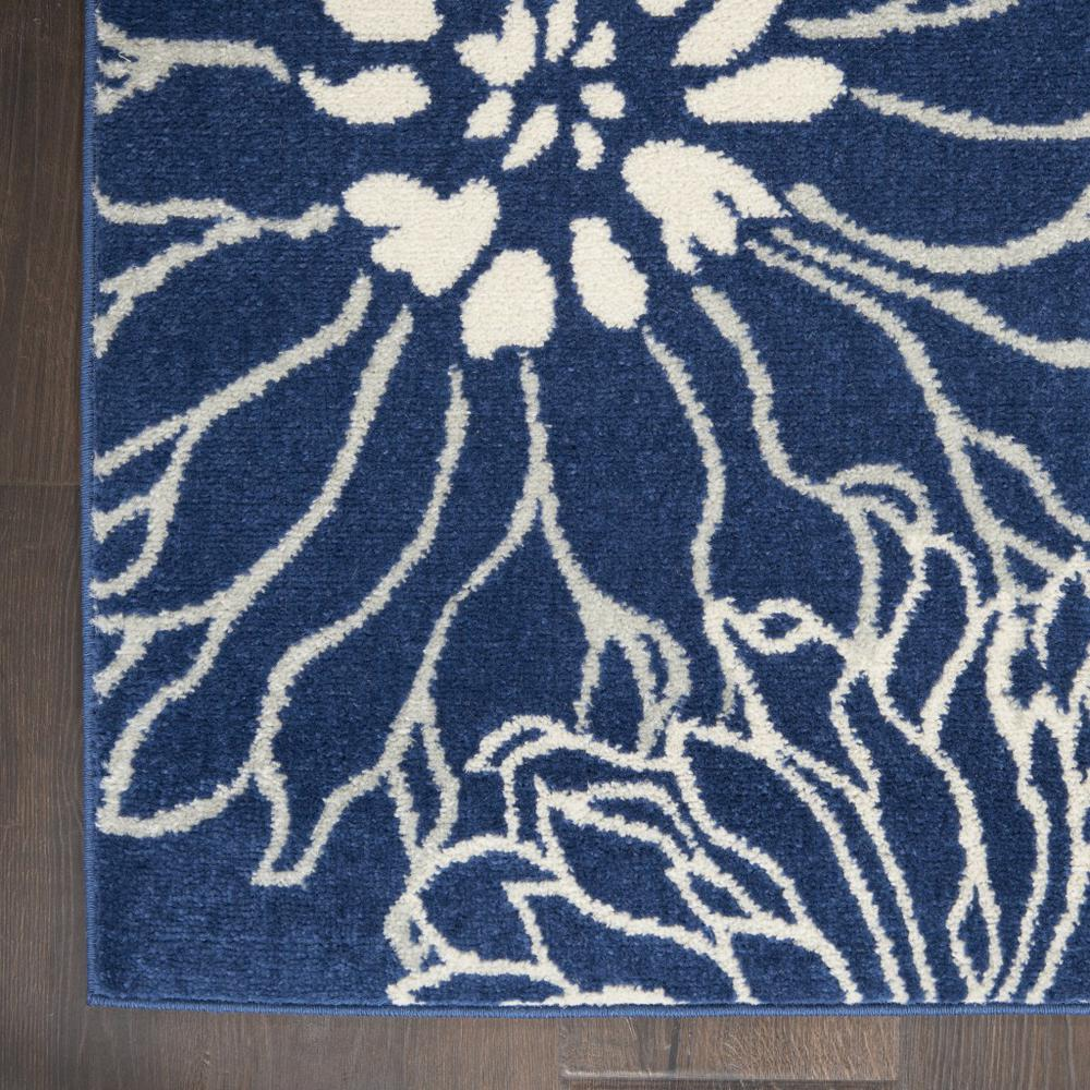 7' x 10' Navy and Ivory Floral Area Rug - 385481. Picture 2