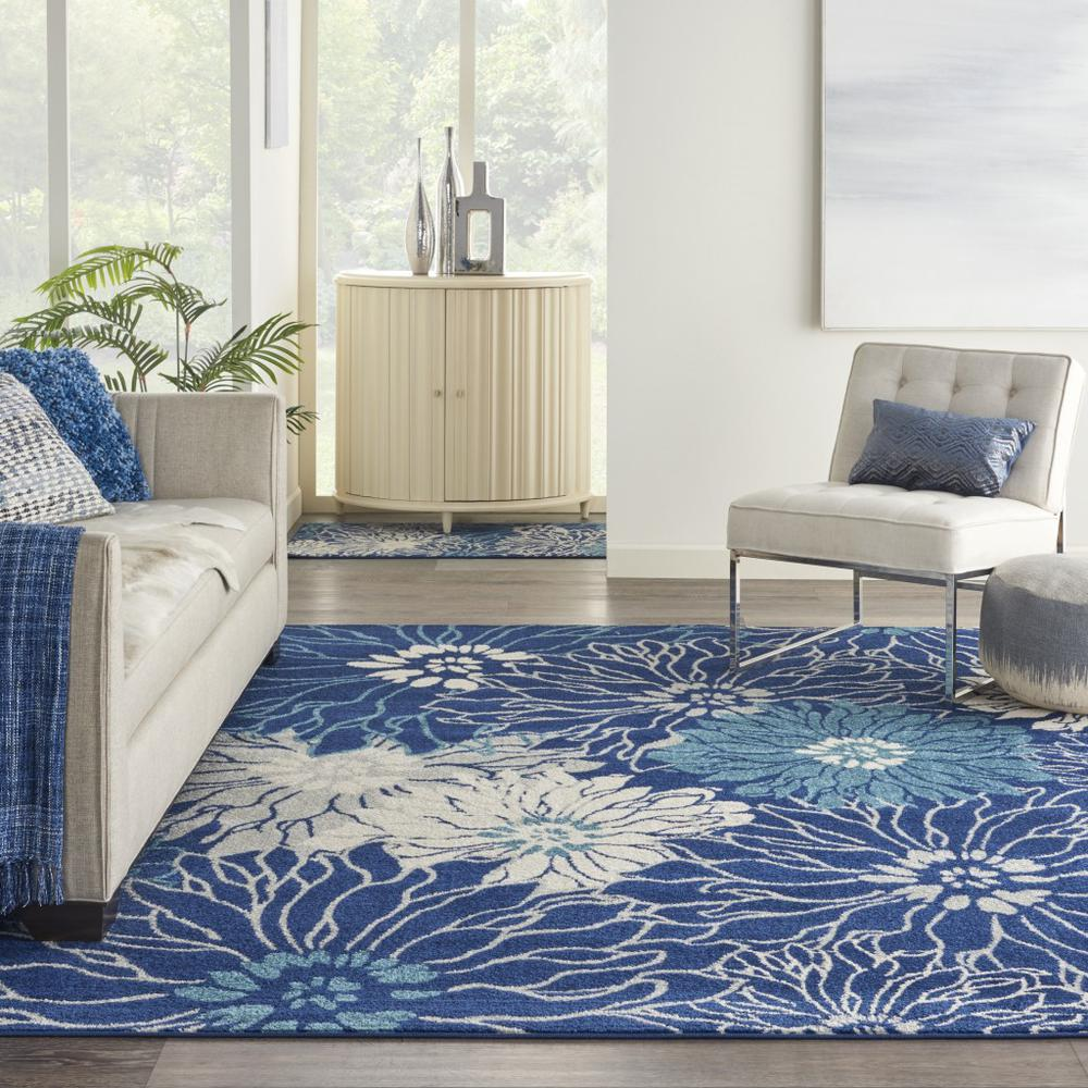 7' x 10' Navy and Ivory Floral Area Rug - 385481. Picture 4