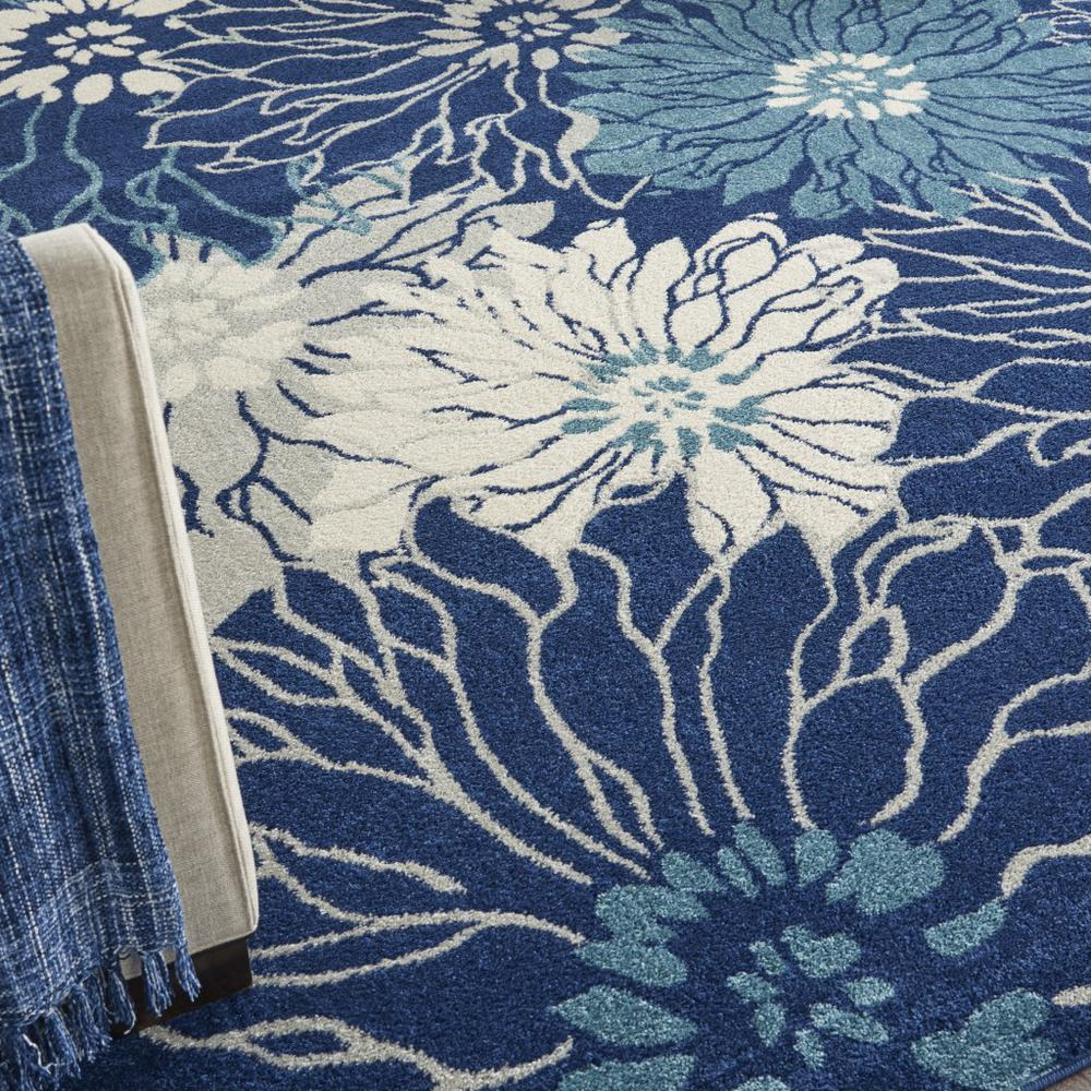 7' x 10' Navy and Ivory Floral Area Rug - 385481. Picture 5