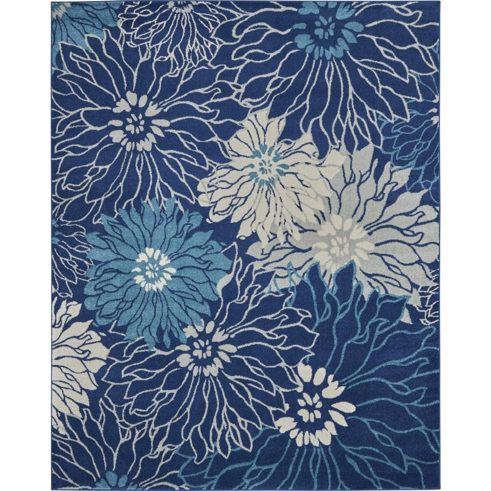 8' x 10' Navy and Ivory Floral Area Rug - 385482. Picture 1
