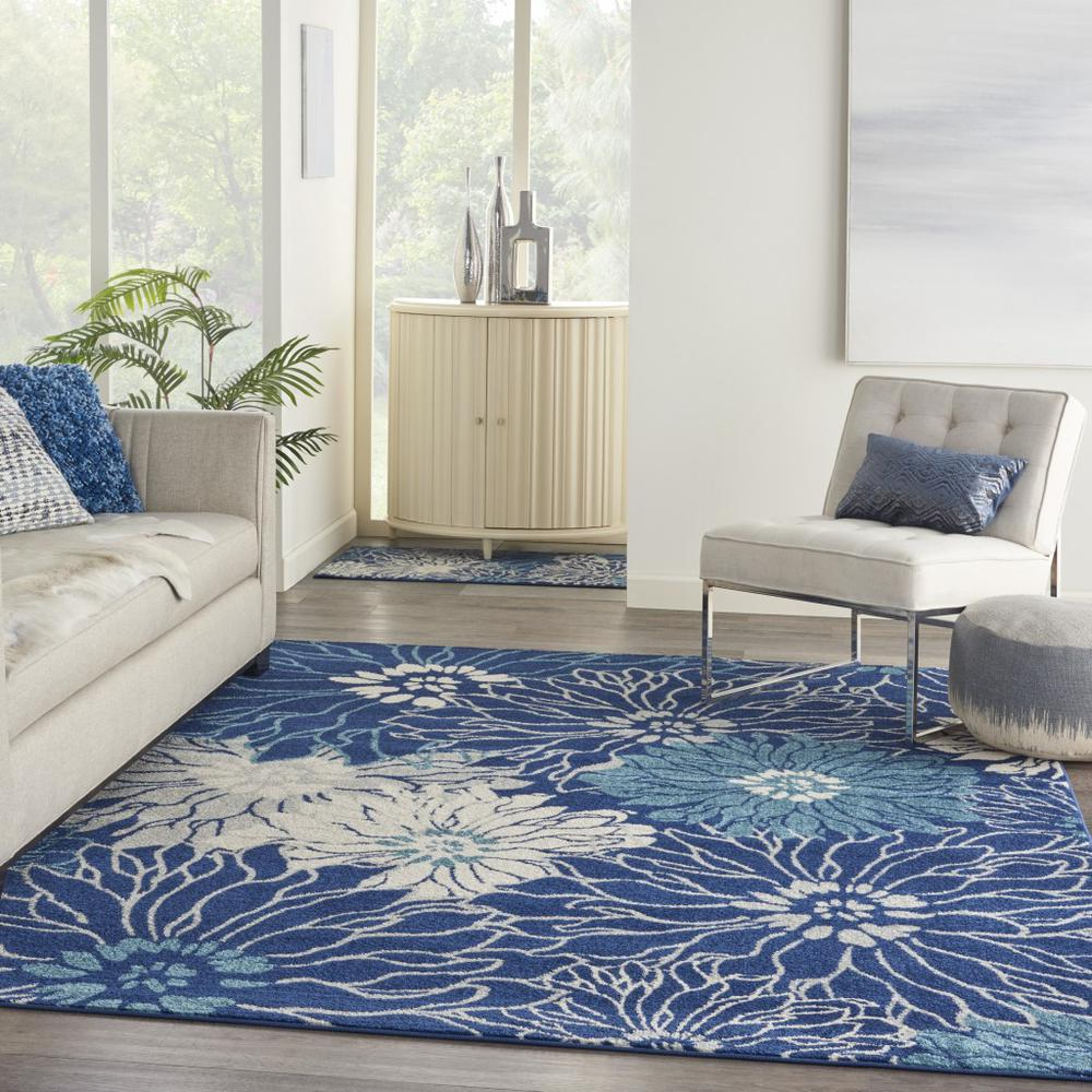 8' x 10' Navy and Ivory Floral Area Rug - 385482. Picture 6