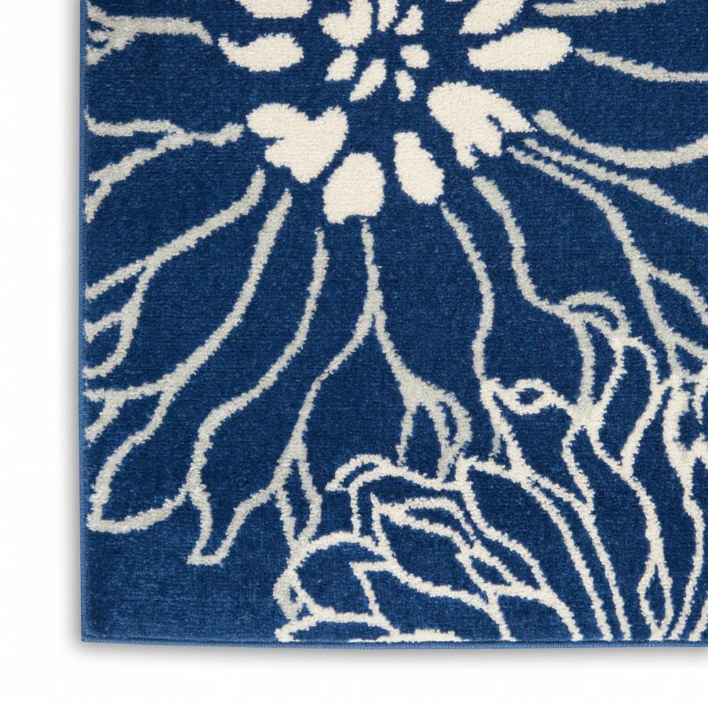 8' x 10' Navy and Ivory Floral Area Rug - 385482. Picture 7