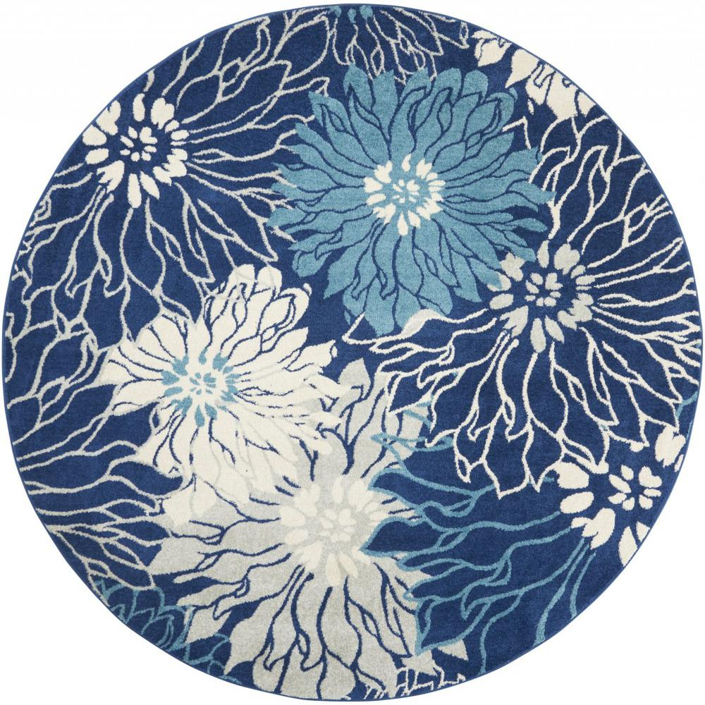 8' Round Navy and Ivory Floral Area Rug - 385483. Picture 1