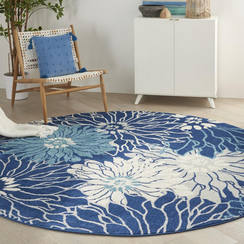 8' Round Navy and Ivory Floral Area Rug - 385483. Picture 2