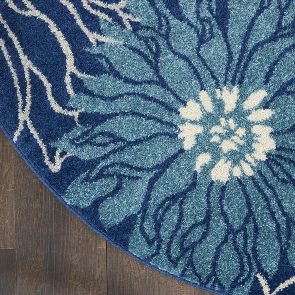 8' Round Navy and Ivory Floral Area Rug - 385483. Picture 4