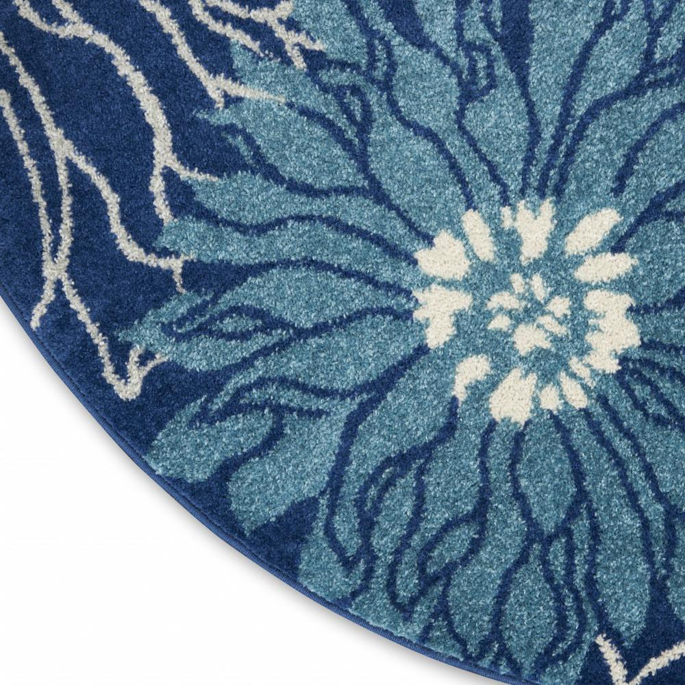 8' Round Navy and Ivory Floral Area Rug - 385483. Picture 5