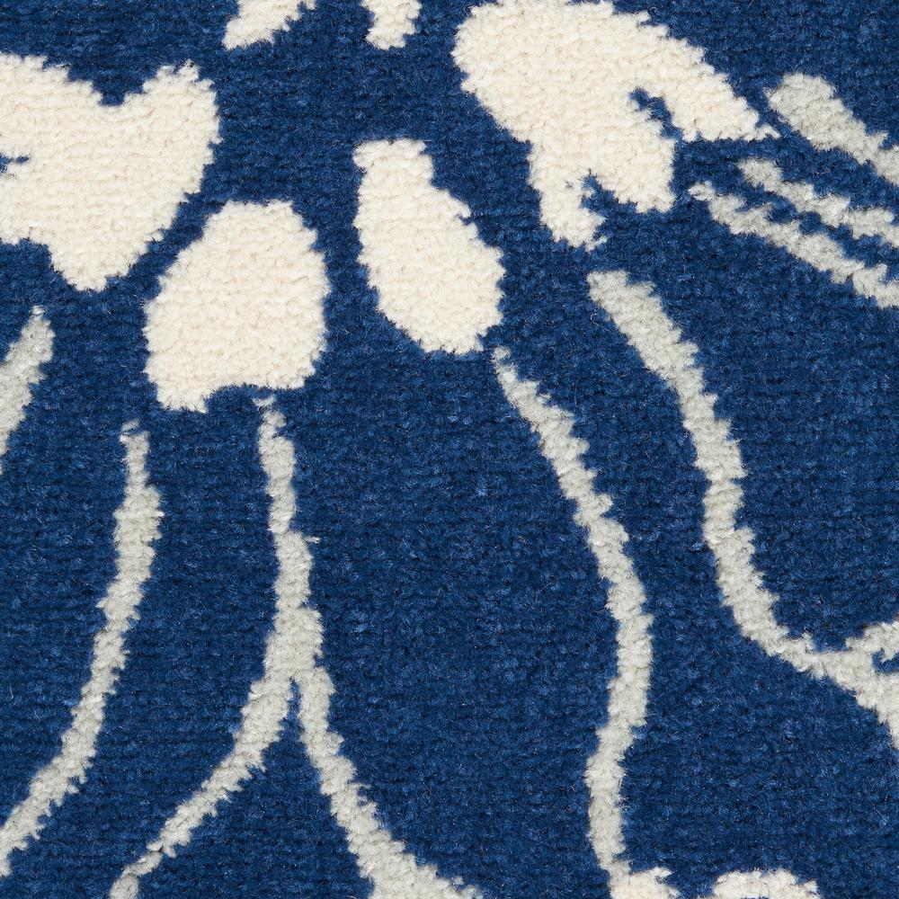 8' Round Navy and Ivory Floral Area Rug - 385483. Picture 6
