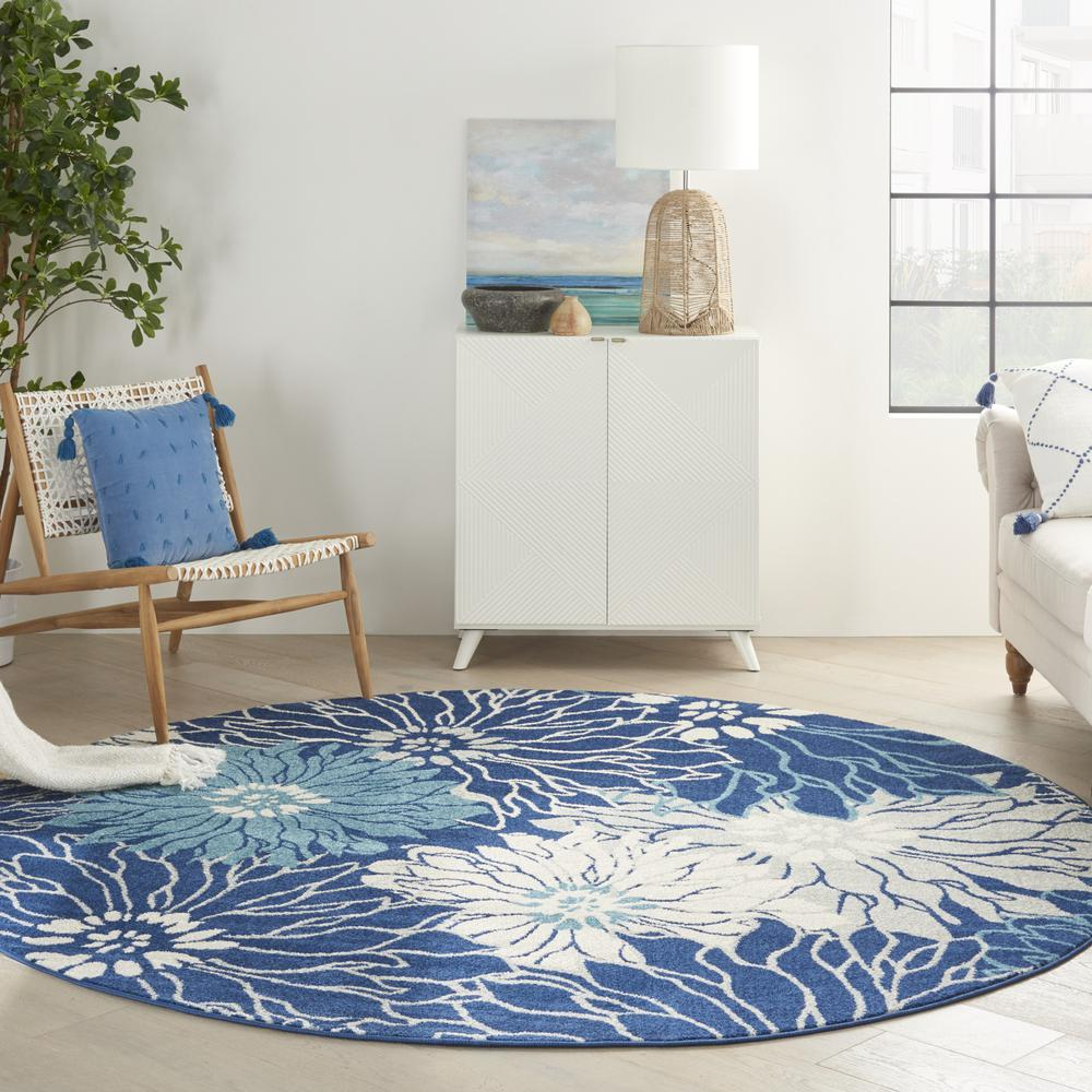 8' Round Navy and Ivory Floral Area Rug - 385483. Picture 9