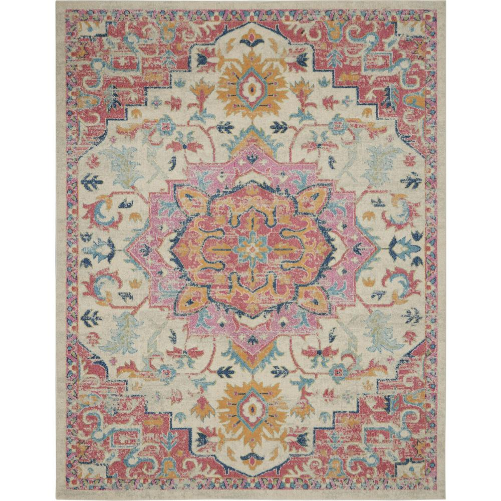 8' x 10' Ivory and Pink Medallion Area Rug - 385594. Picture 1