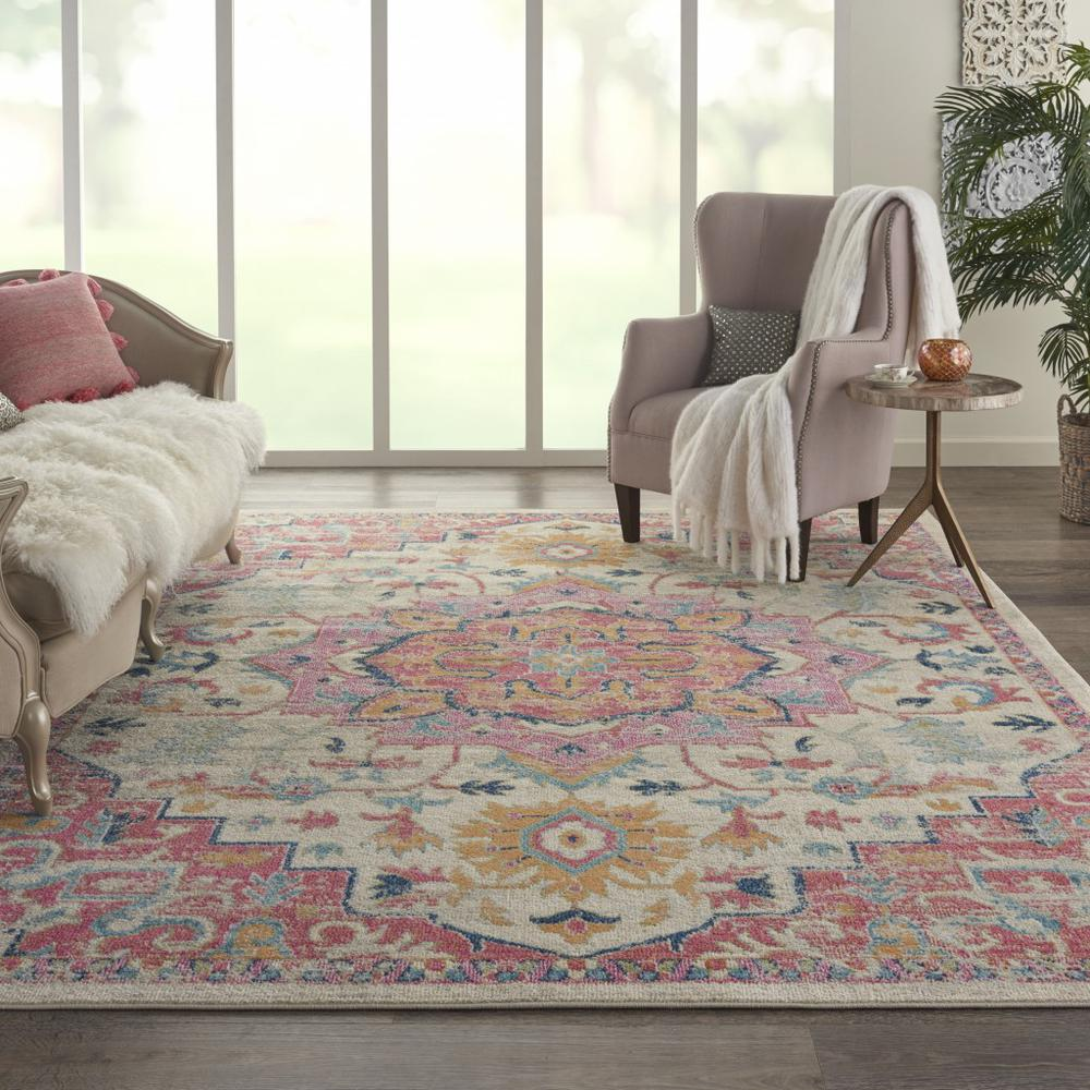 8' x 10' Ivory and Pink Medallion Area Rug - 385594. Picture 4