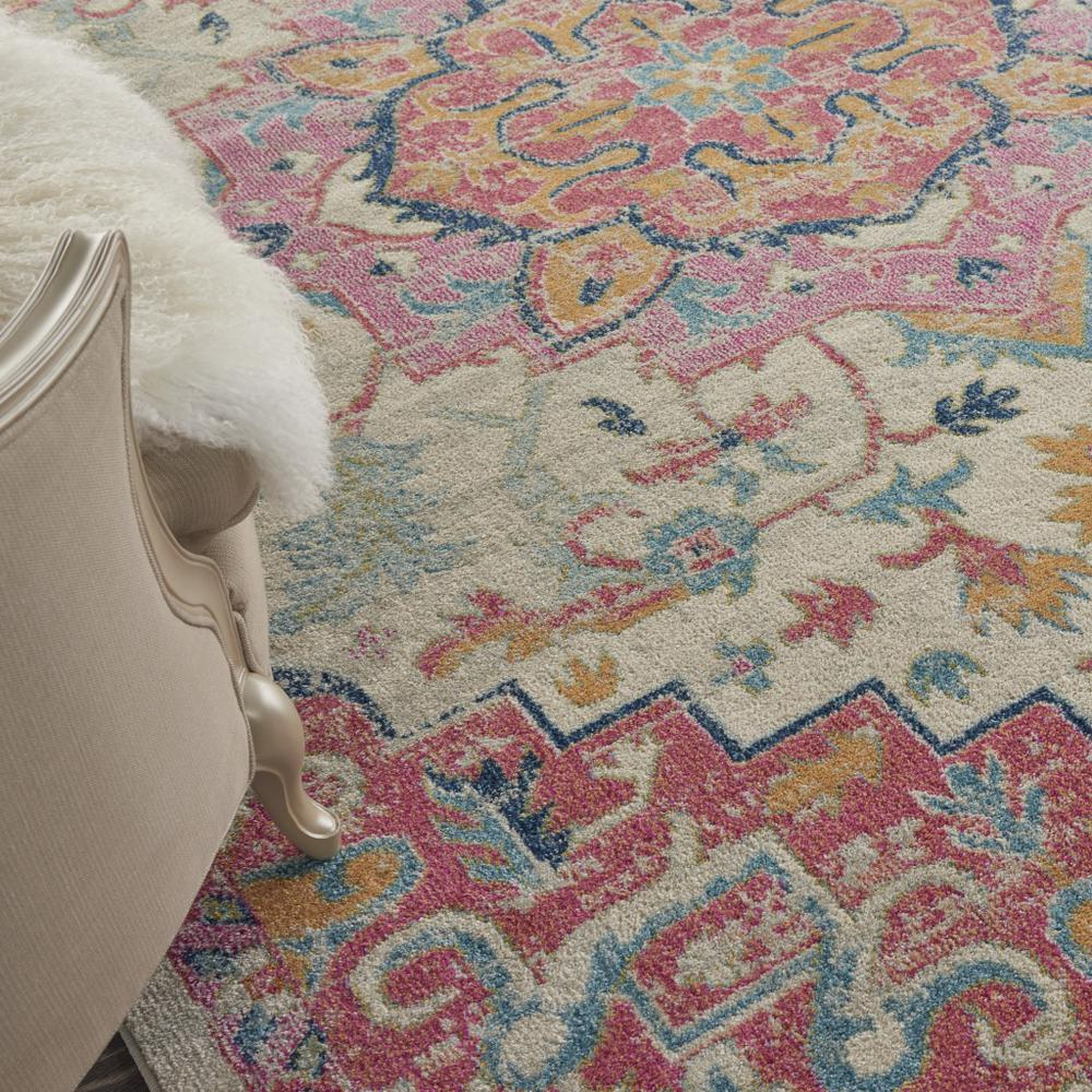 8' x 10' Ivory and Pink Medallion Area Rug - 385594. Picture 5