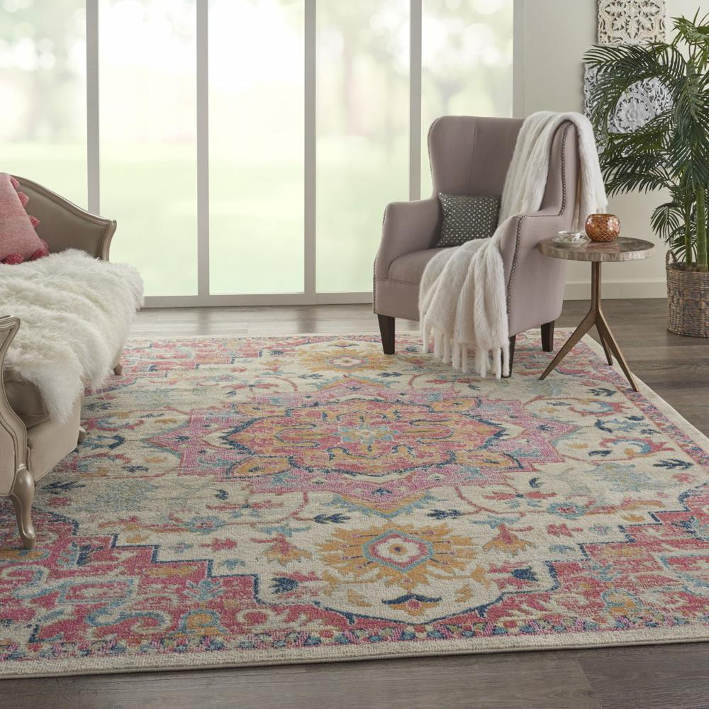 8' x 10' Ivory and Pink Medallion Area Rug - 385594. Picture 6