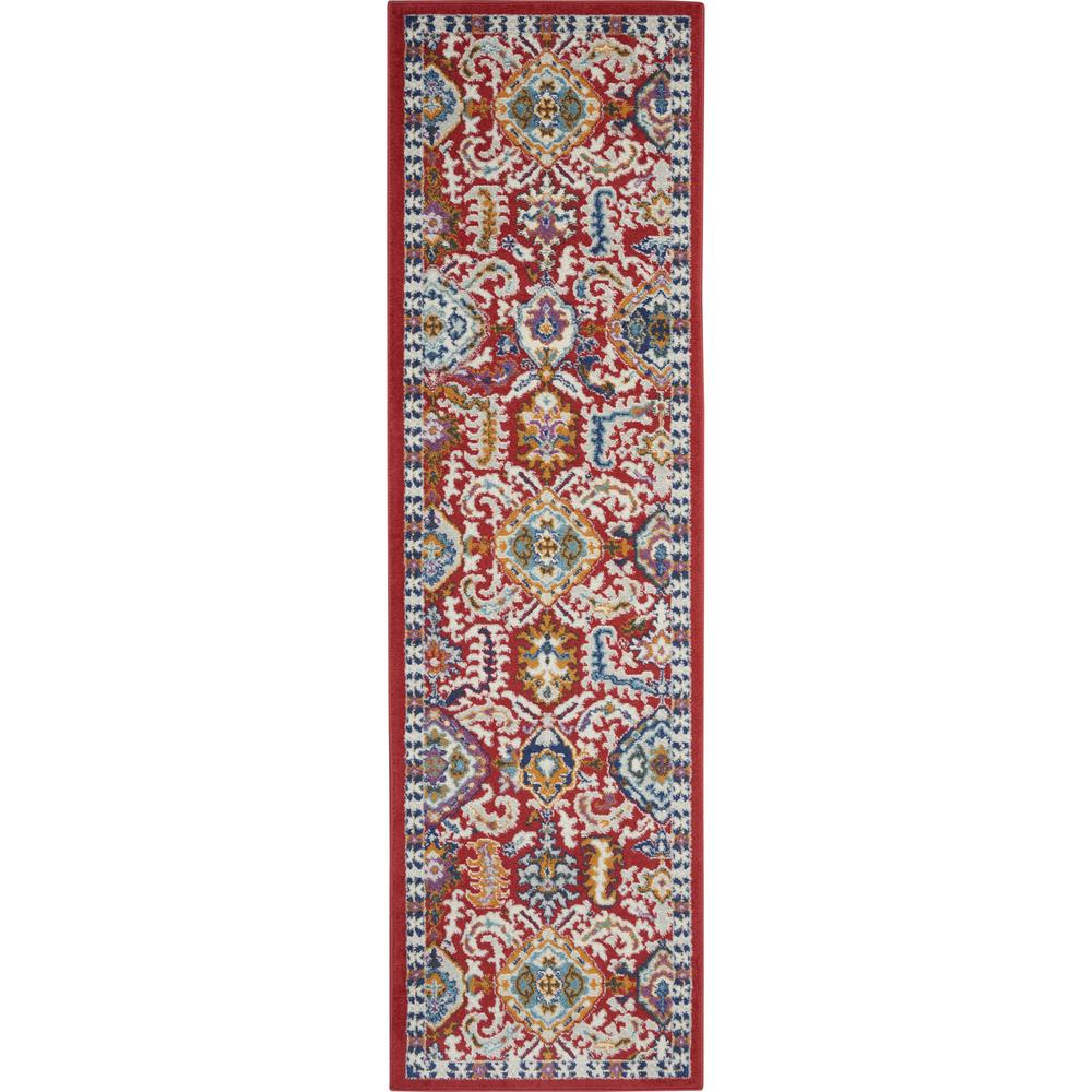 2' x 8' Red and Multicolor Decorative Runner Rug - 385644. Picture 1