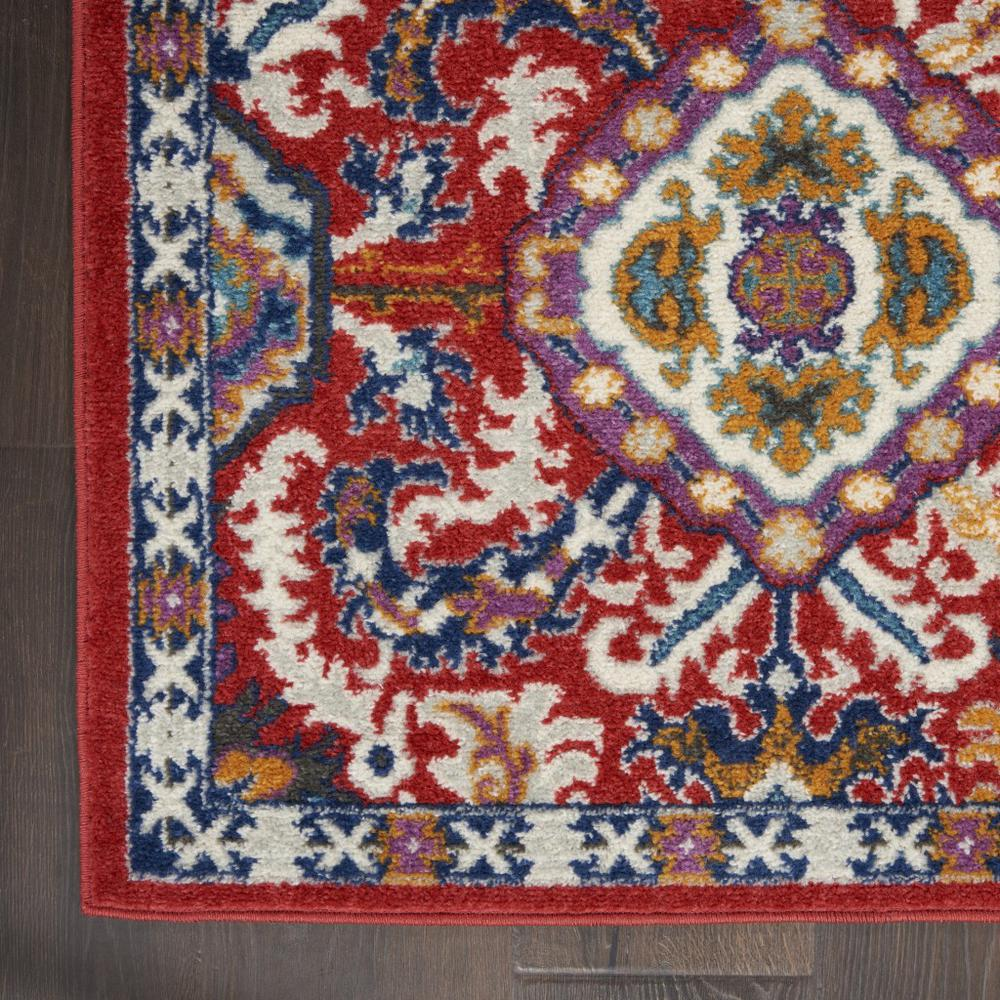 2' x 8' Red and Multicolor Decorative Runner Rug - 385644. Picture 2
