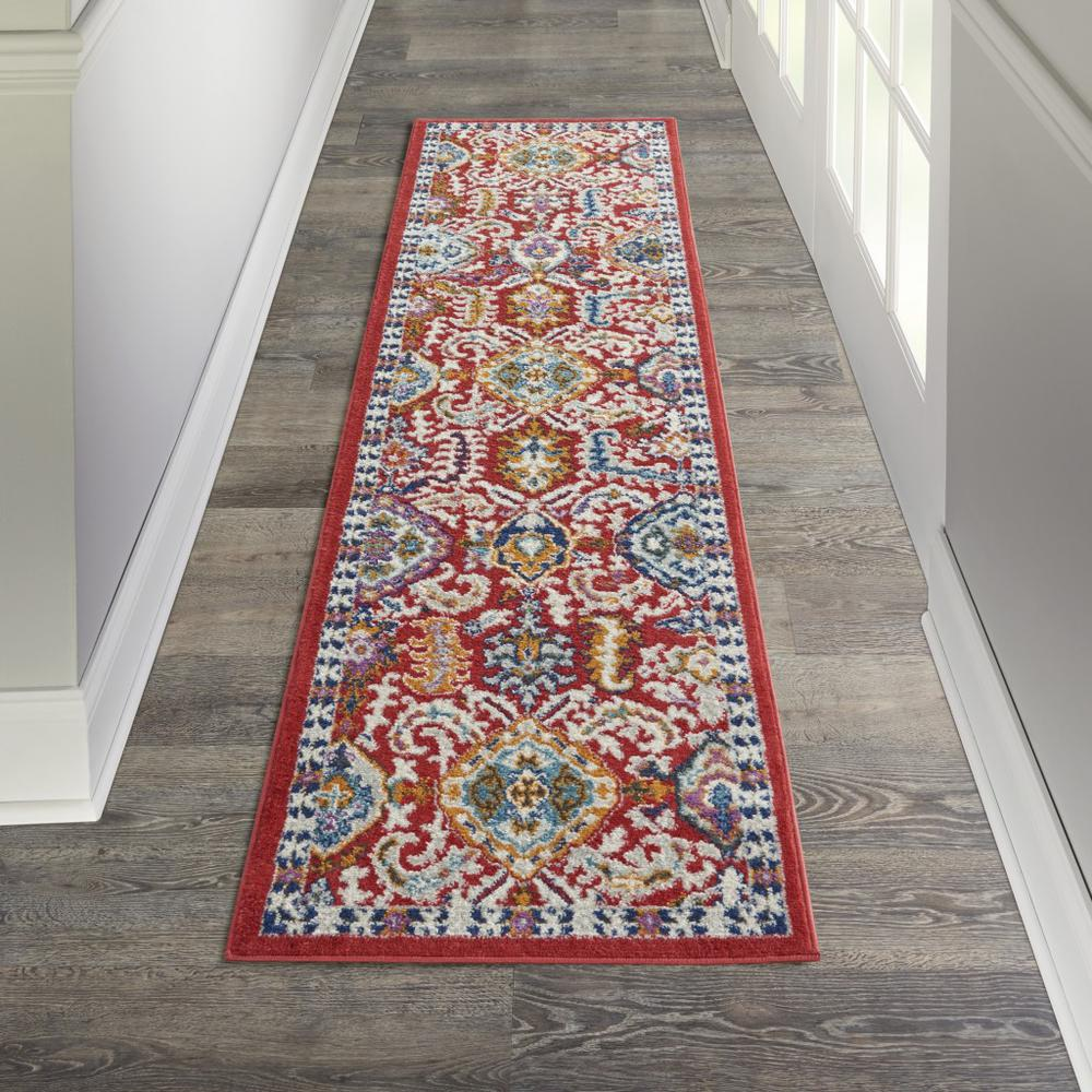 2' x 8' Red and Multicolor Decorative Runner Rug - 385644. Picture 4