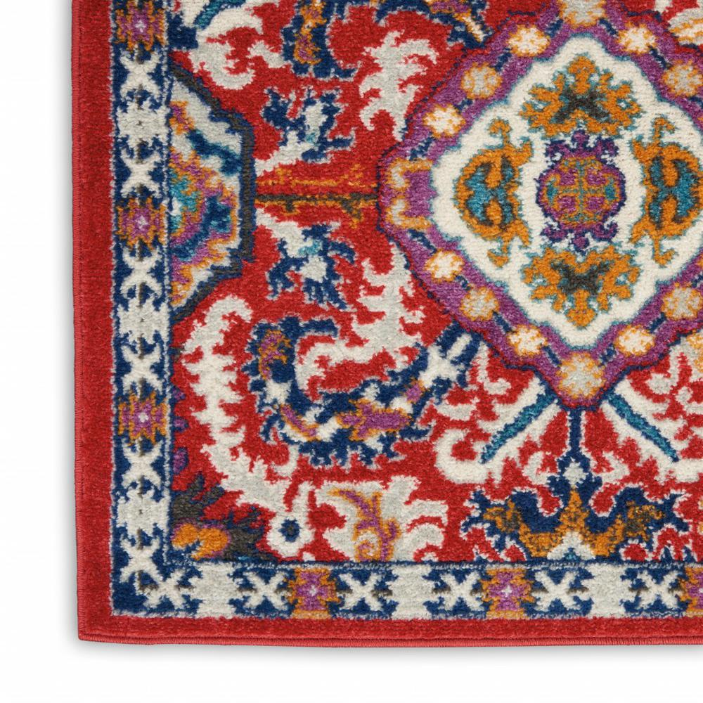 2' x 8' Red and Multicolor Decorative Runner Rug - 385644. Picture 5