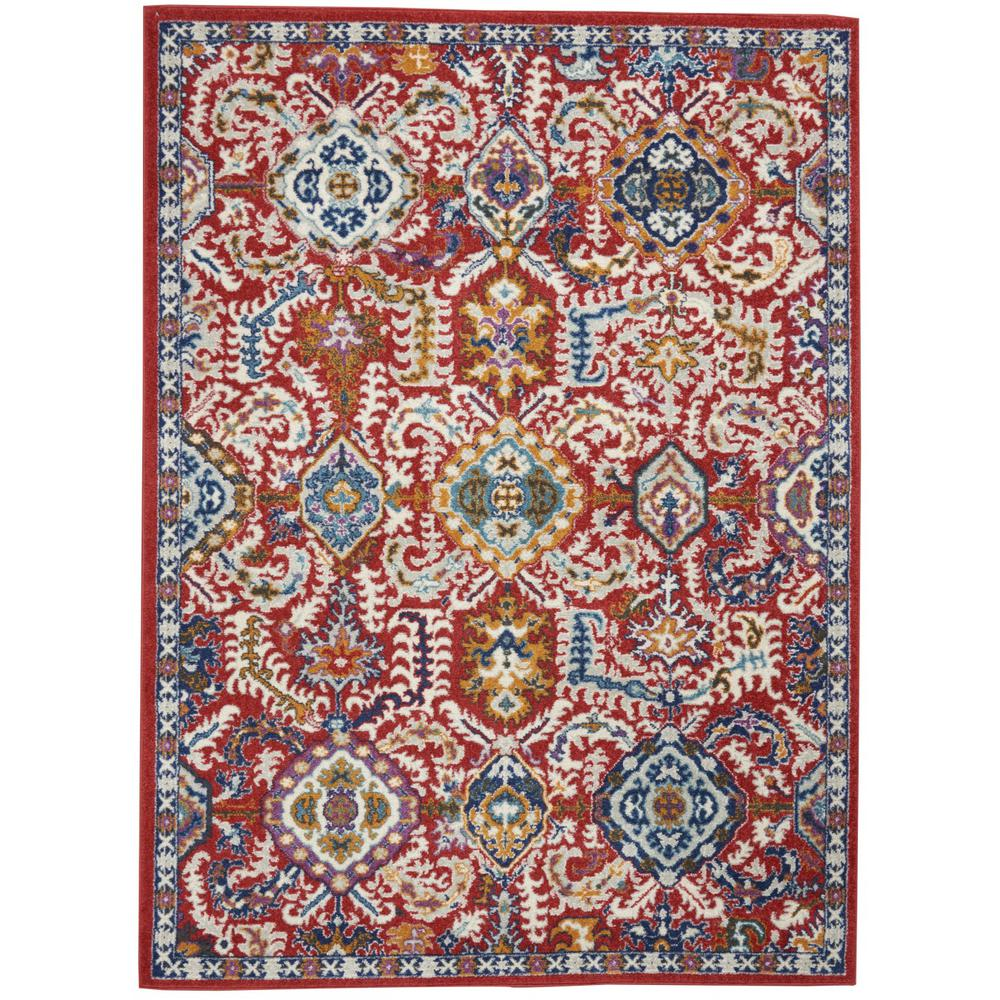 5' x 7' Red and Multicolor Decorative Area Rug - 385646. Picture 1