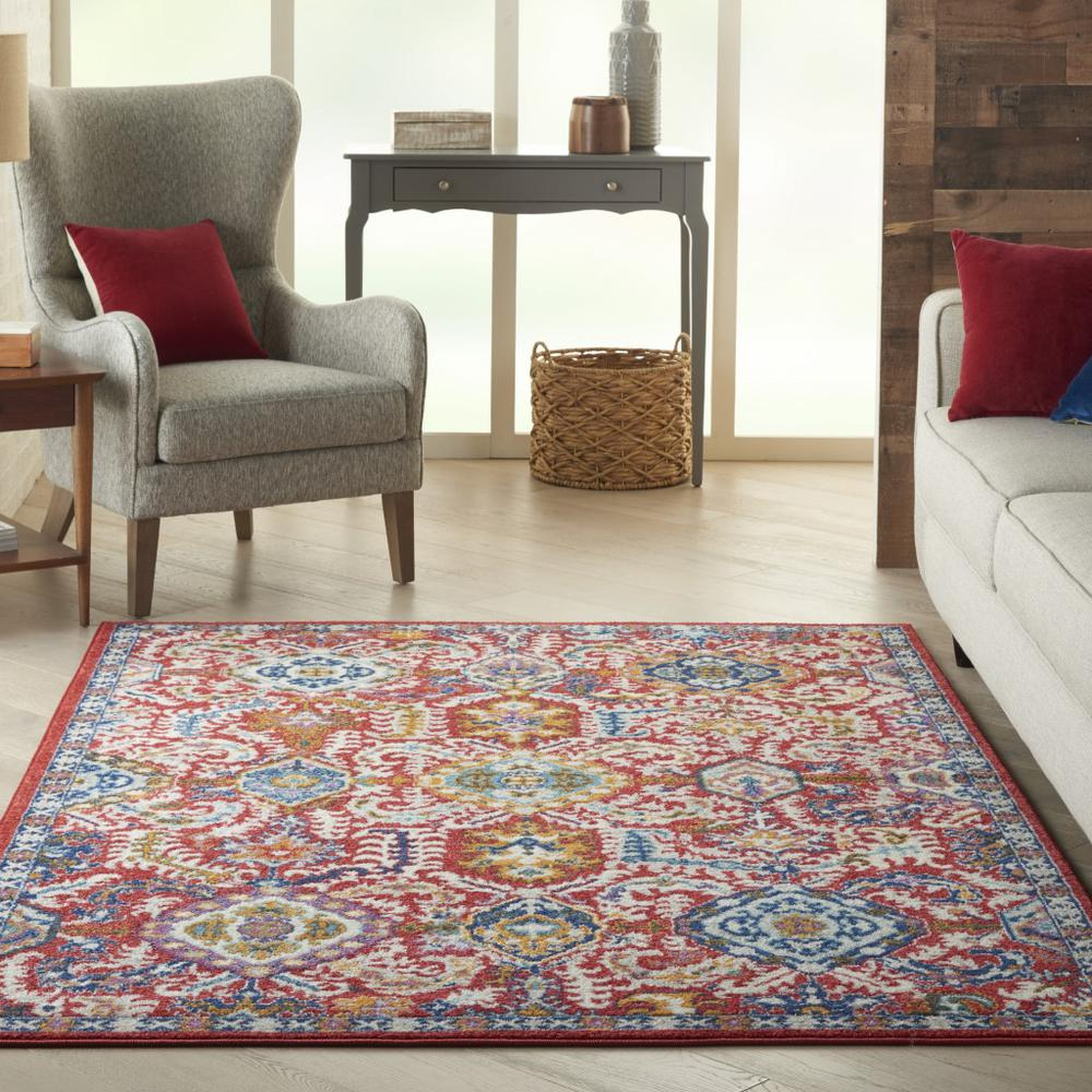 5' x 7' Red and Multicolor Decorative Area Rug - 385646. Picture 4