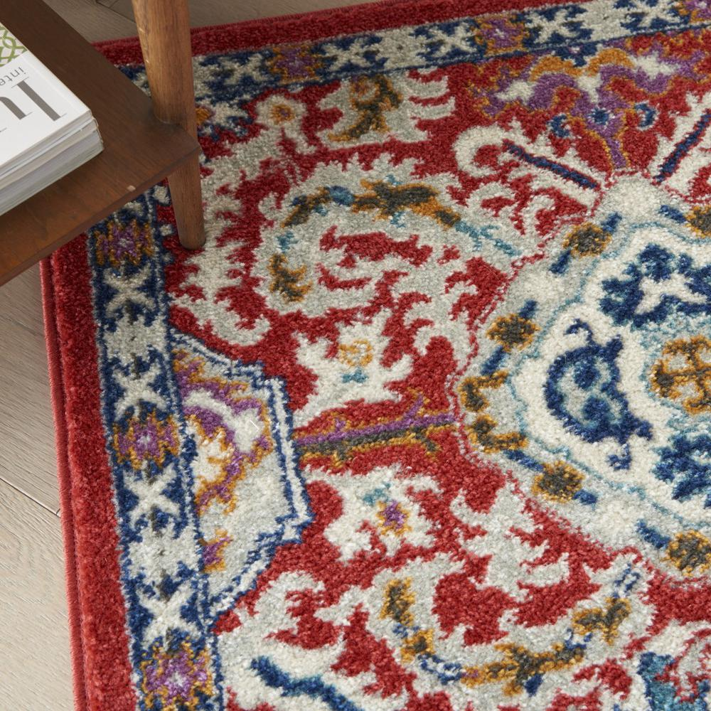 5' x 7' Red and Multicolor Decorative Area Rug - 385646. Picture 5