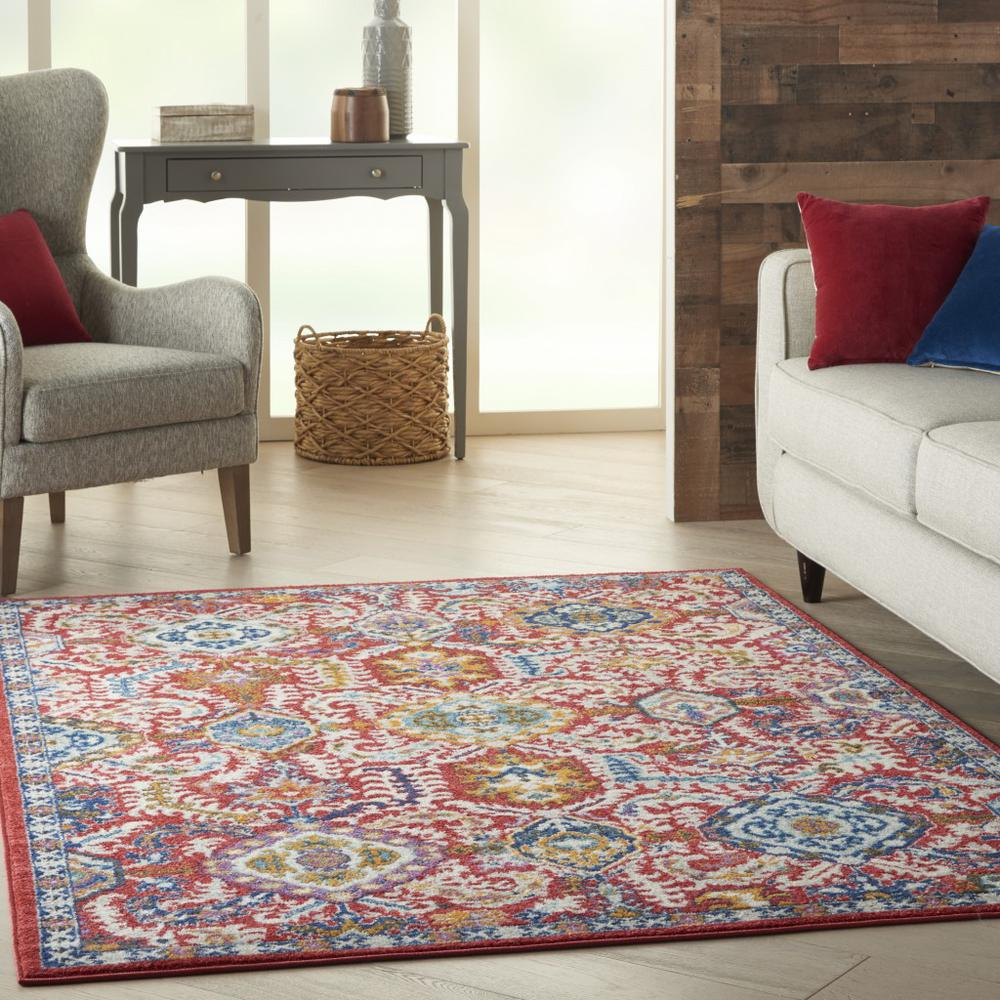 5' x 7' Red and Multicolor Decorative Area Rug - 385646. Picture 6