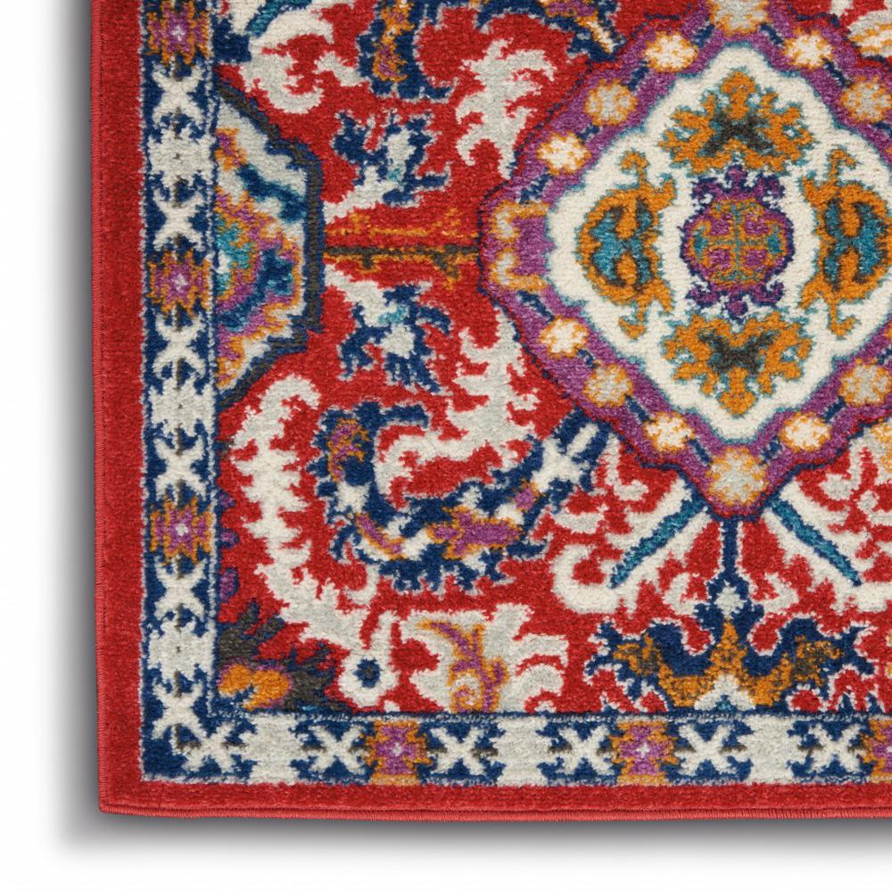 5' x 7' Red and Multicolor Decorative Area Rug - 385646. Picture 7