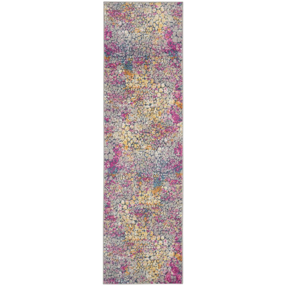 2' x 10' Yellow and Pink Coral Reef Runner Rug - 385660. Picture 1