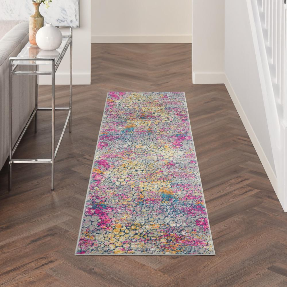 2' x 10' Yellow and Pink Coral Reef Runner Rug - 385660. Picture 4