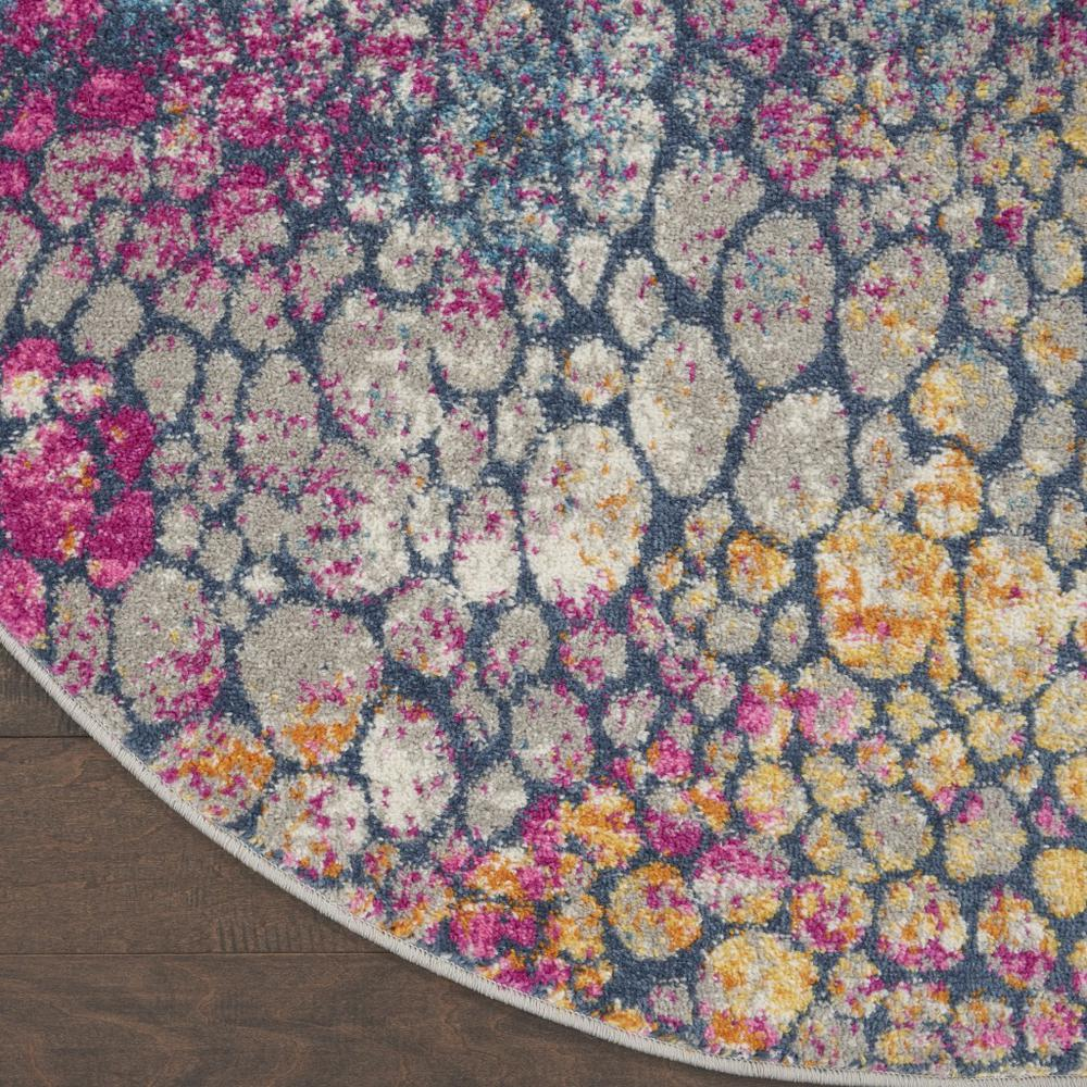 4' Round Yellow and Pink Coral Reef Area Rug - 385663. Picture 2