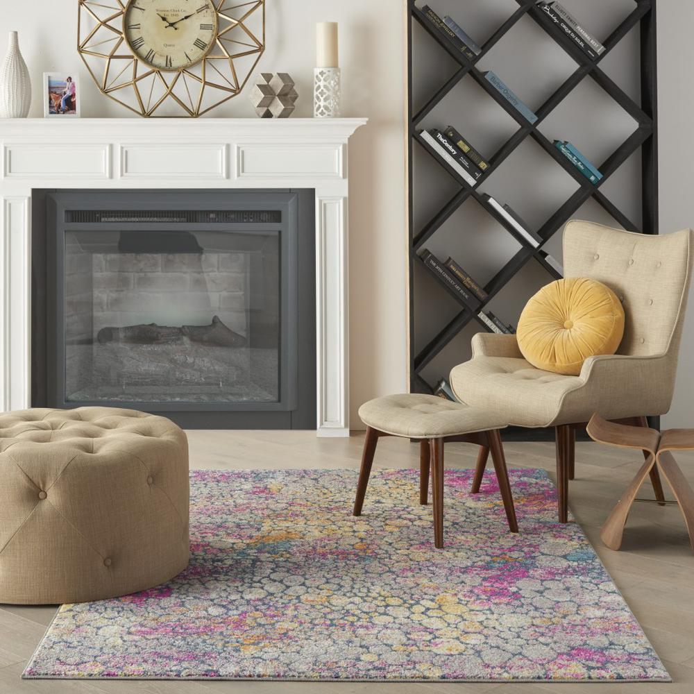 5' x 7' Yellow and Pink Coral Reef Area Rug - 385664. Picture 4