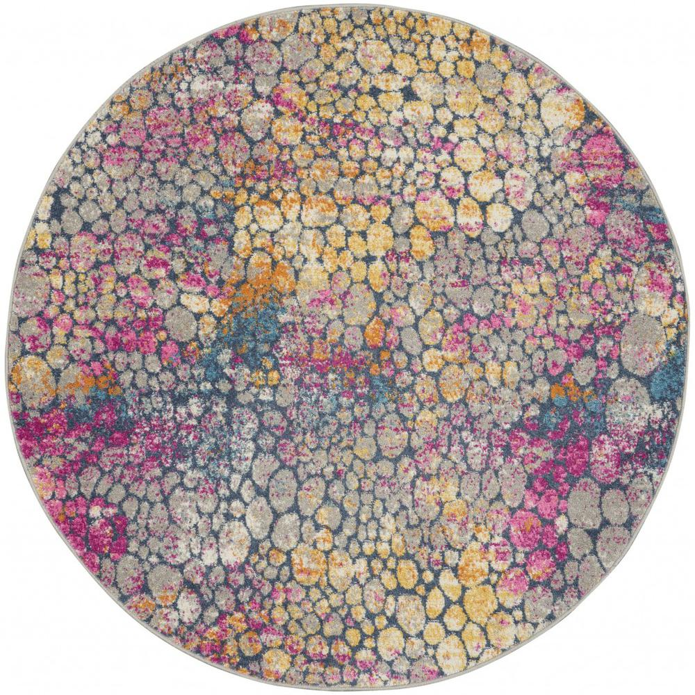5' Round Yellow and Pink Coral Reef Area Rug - 385665. Picture 1