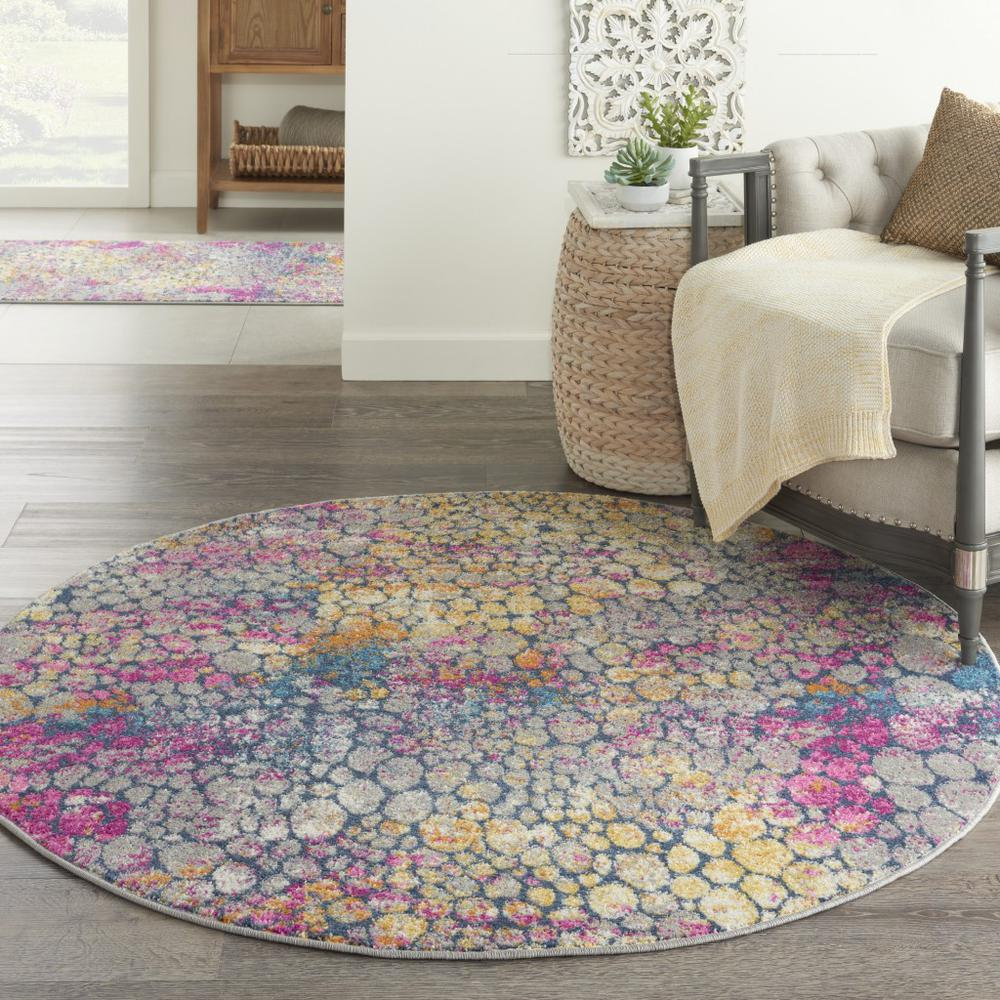 5' Round Yellow and Pink Coral Reef Area Rug - 385665. Picture 4