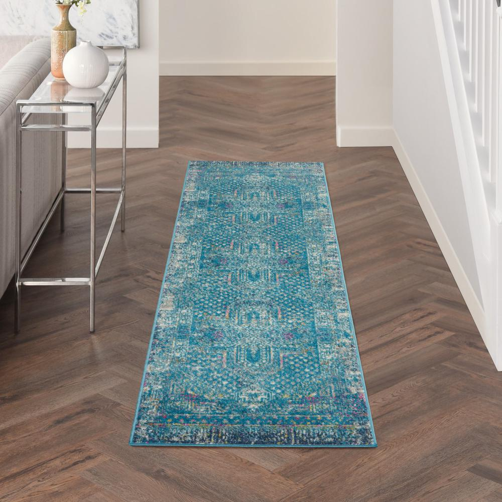2' x 10' Blue Distressed Medallion Runner Rug - 385732. Picture 4
