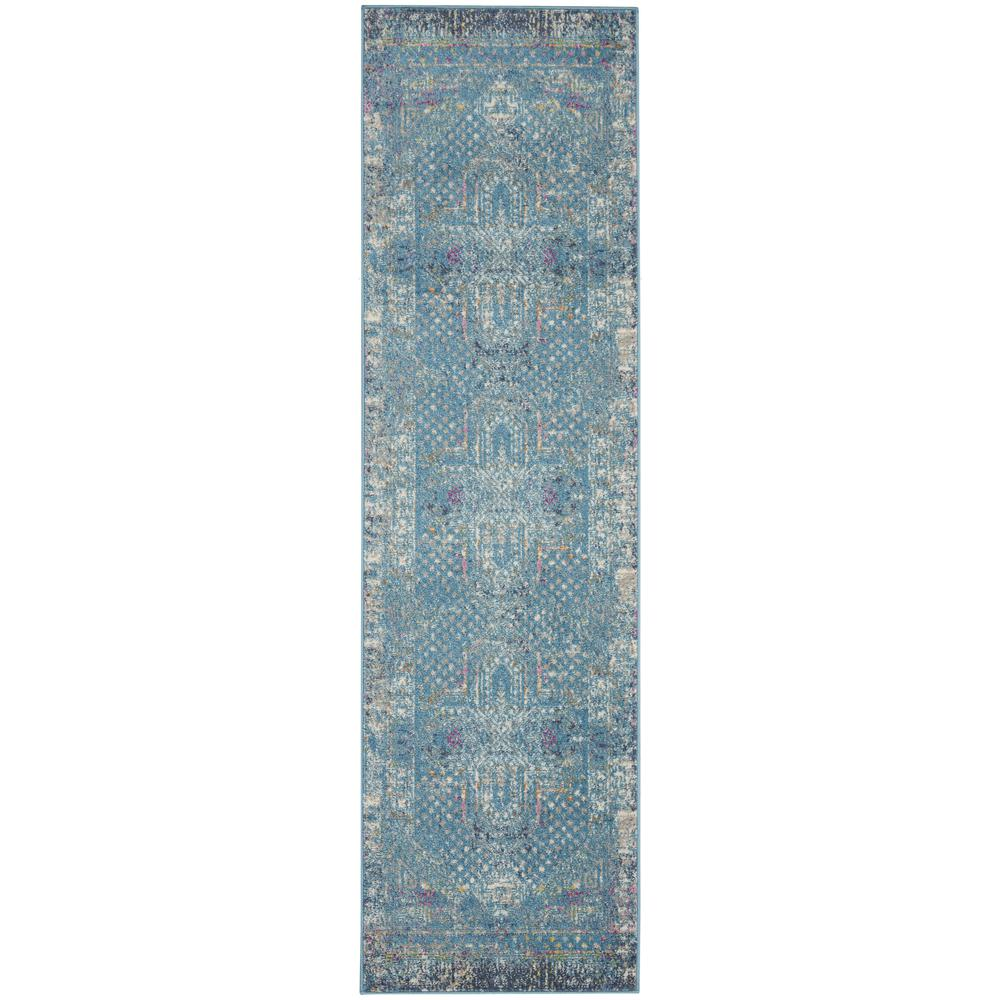 2' x 8' Blue Distressed Medallion Runner Rug - 385733. Picture 1