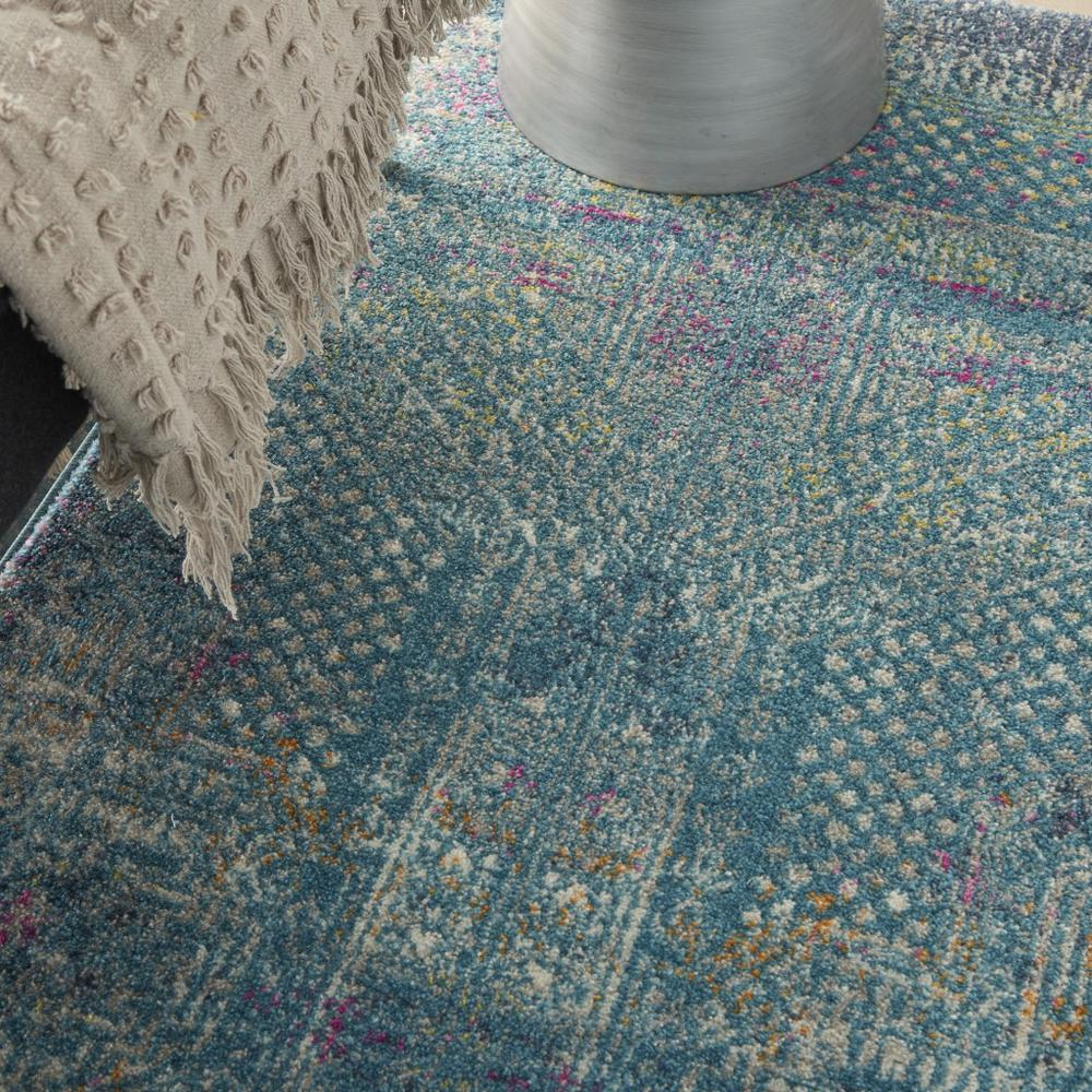 4' x 6' Blue Distressed Medallion Area Rug - 385734. Picture 5