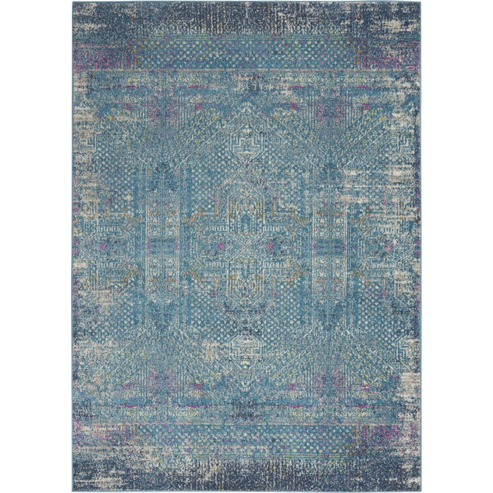 5' x 7' Blue Distressed Medallion Area Rug - 385736. Picture 1