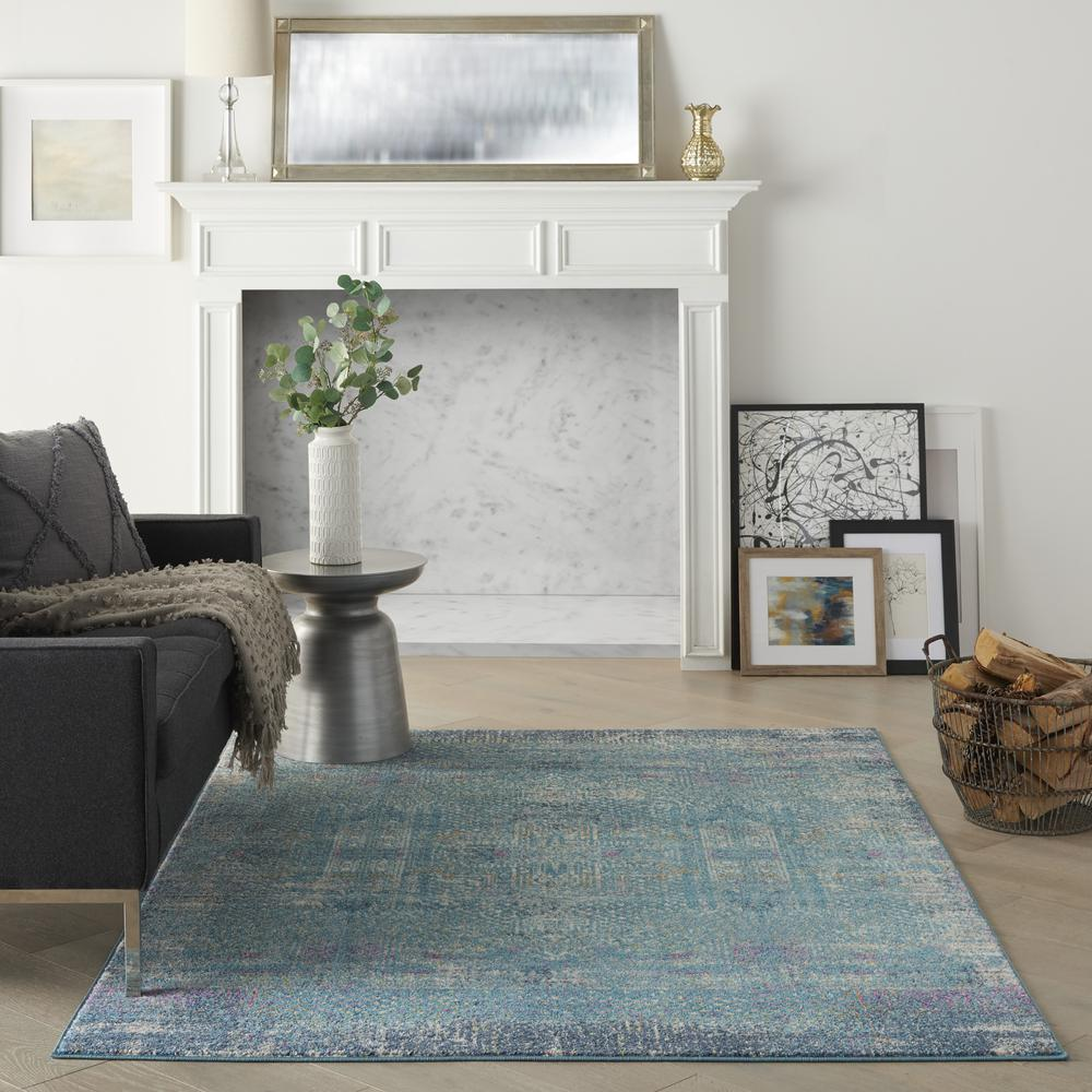 5' x 7' Blue Distressed Medallion Area Rug - 385736. Picture 4