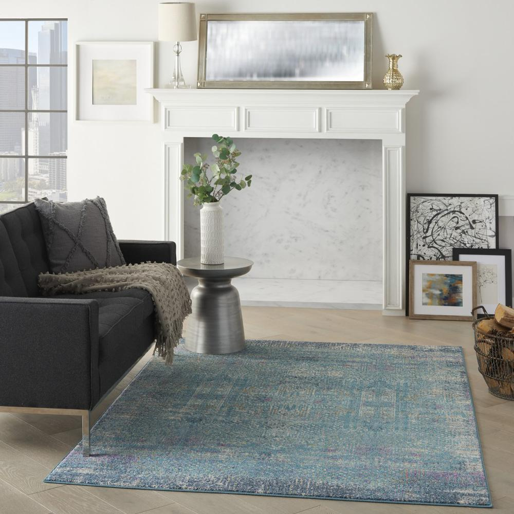 5' x 7' Blue Distressed Medallion Area Rug - 385736. Picture 6