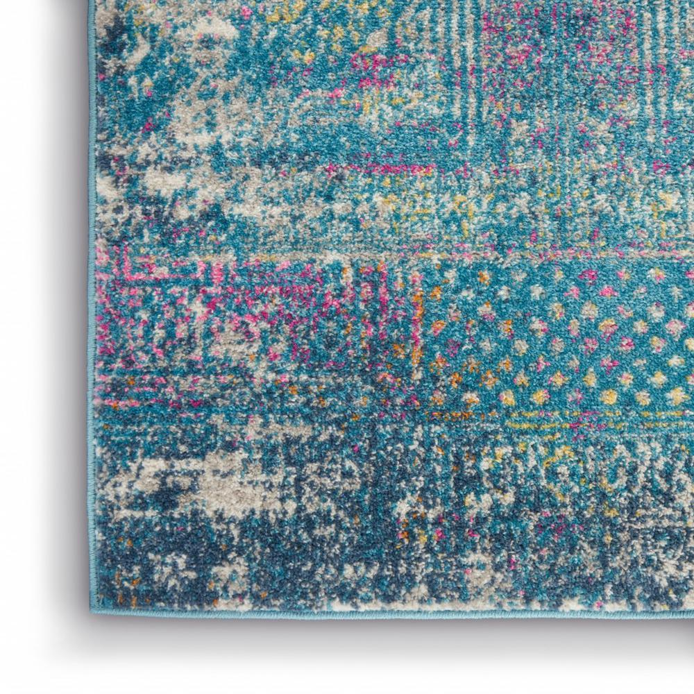 5' x 7' Blue Distressed Medallion Area Rug - 385736. Picture 7