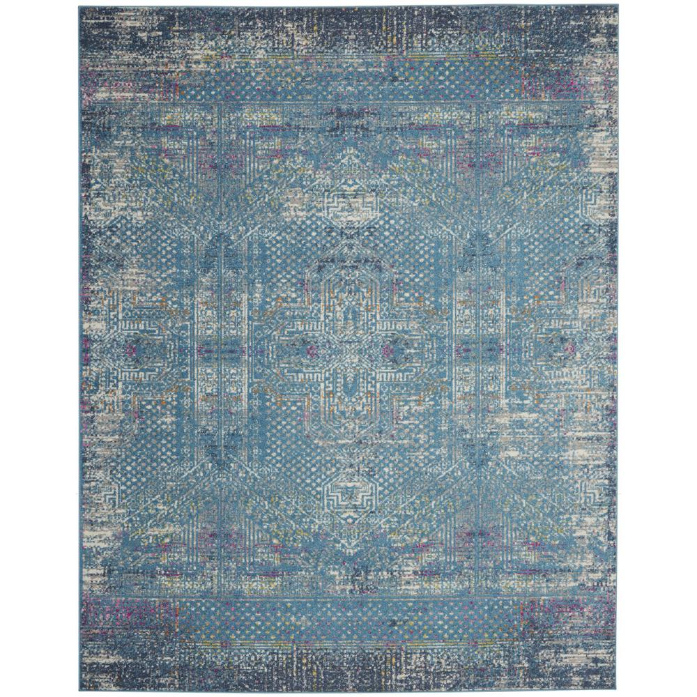 8' x 10' Blue Distressed Medallion Area Rug - 385739. Picture 1