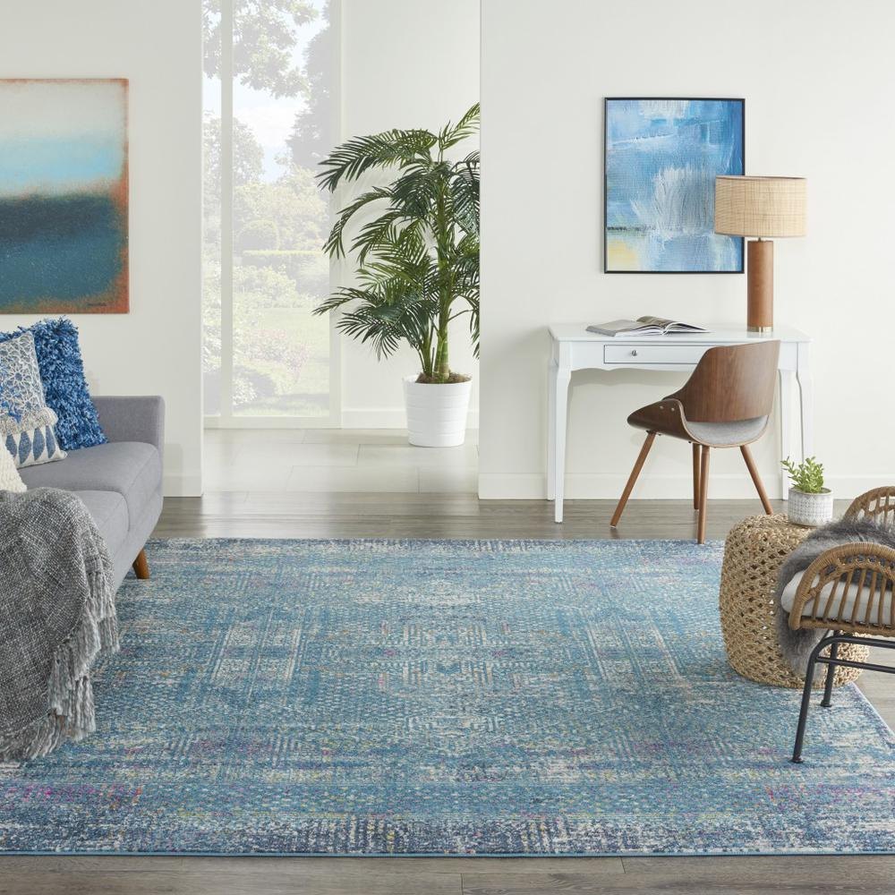 8' x 10' Blue Distressed Medallion Area Rug - 385739. Picture 4