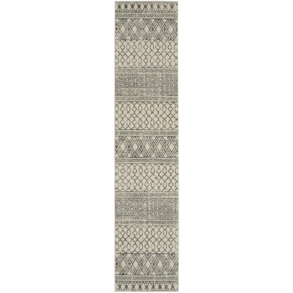 2' x 10' Ivory and Gray Geometric Runner Rug - 385770. Picture 1