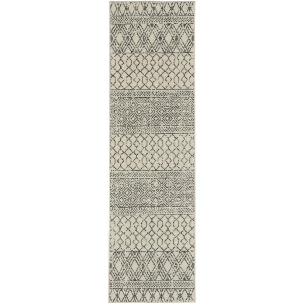 2' x 8' Ivory and Gray Geometric Runner Rug - 385771. Picture 1