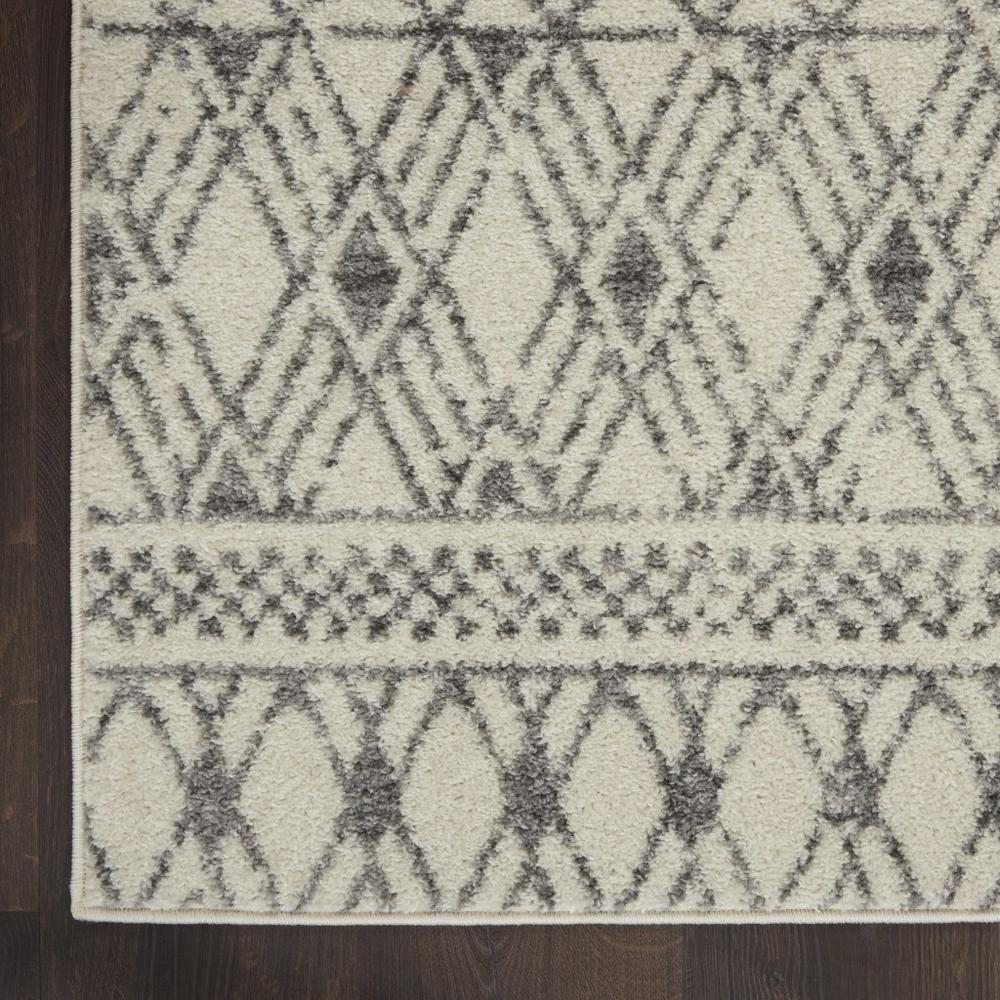 2' x 8' Ivory and Gray Geometric Runner Rug - 385771. Picture 2