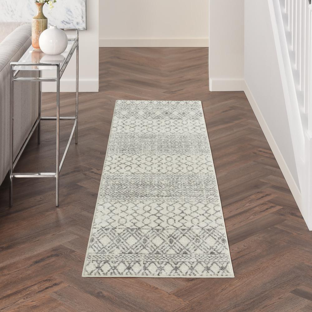 2' x 8' Ivory and Gray Geometric Runner Rug - 385771. Picture 4
