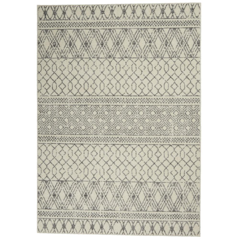 4' x 6' Ivory and Gray Geometric Area Rug - 385772. Picture 1
