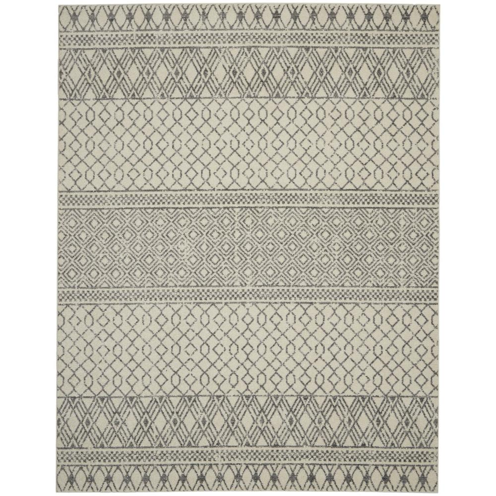8' x 10' Ivory and Gray Geometric Area Rug - 385774. Picture 1