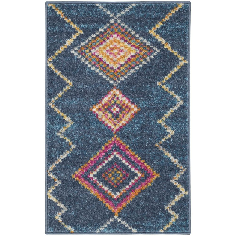 2' x 3' Navy Blue Berber Pattern Scatter Rug - 385775. Picture 1